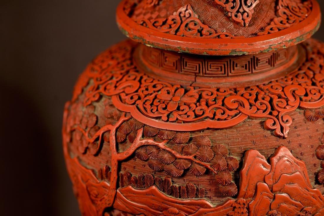 Chinese Cinnebar Covered Vase on Stand - 5