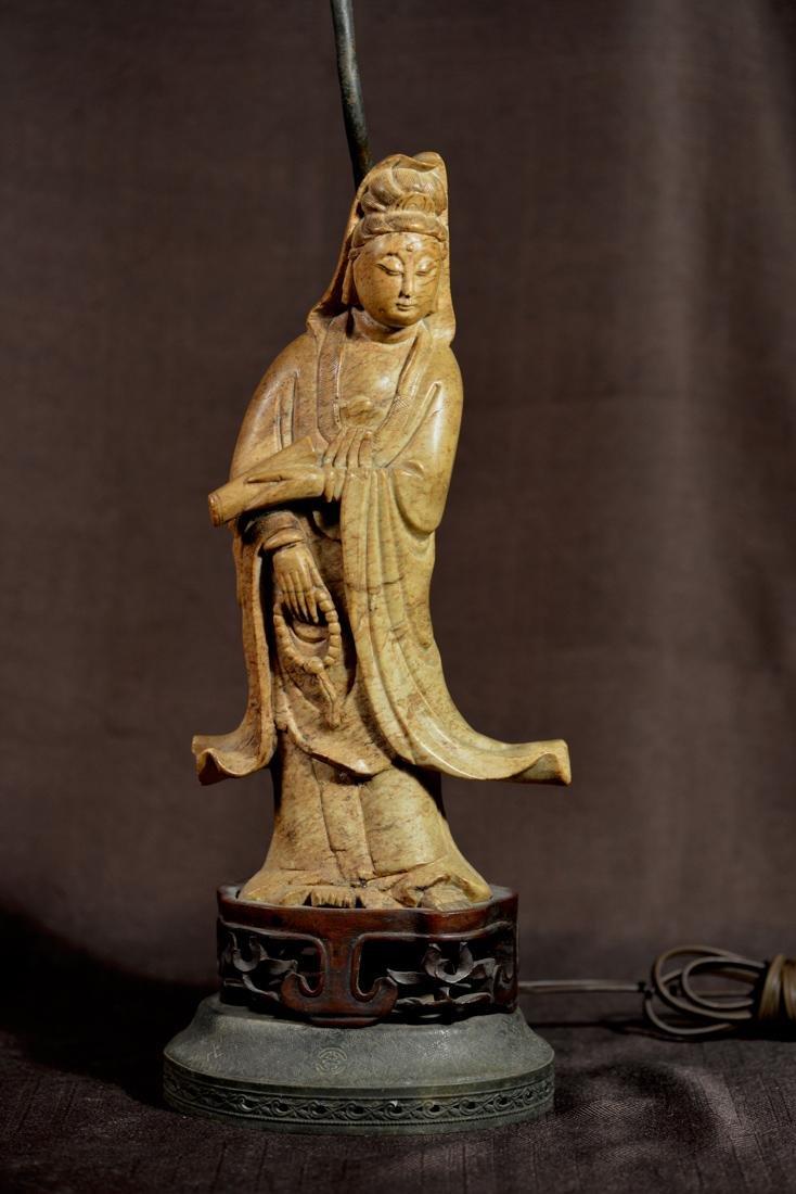 Chinese Soapstone Kuanyin mounted as Lamp