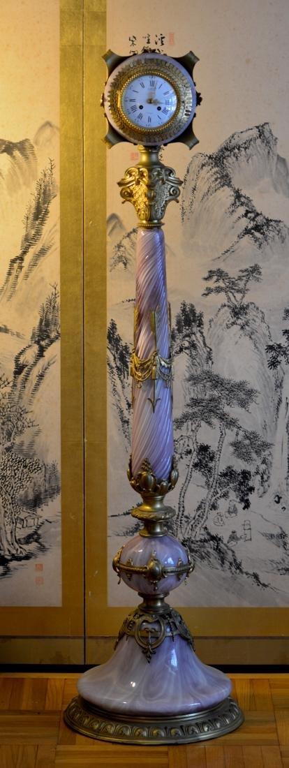 Art and Crafts Glass Column Clock