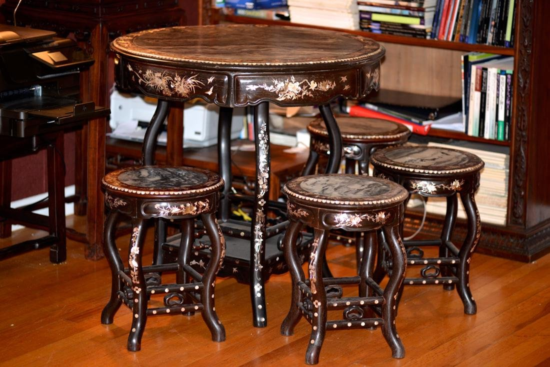 Set of Chinese Rosewood Table Chairs