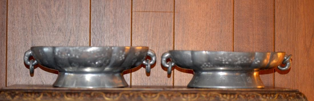 Pair Chinese Pewter Tazzar with Yixin Clay