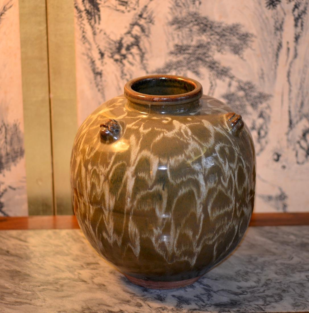 Unusual Japanese Pottery Vase with Tortis shell Glaze