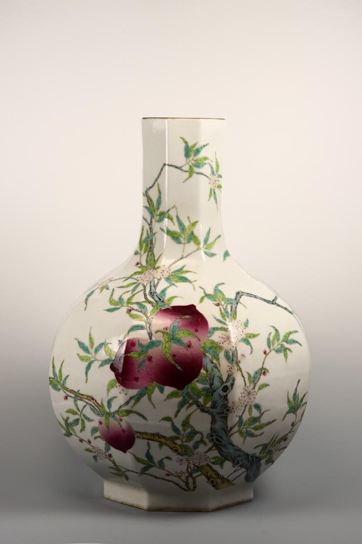 Chinese Hexagonal Porcelain Vase with Peach Scene