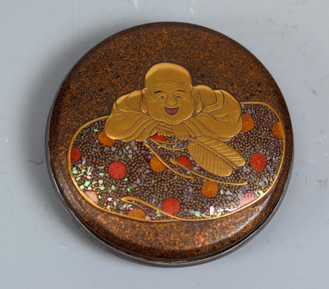 Japanese Lacquer Box with Hotei Scene
