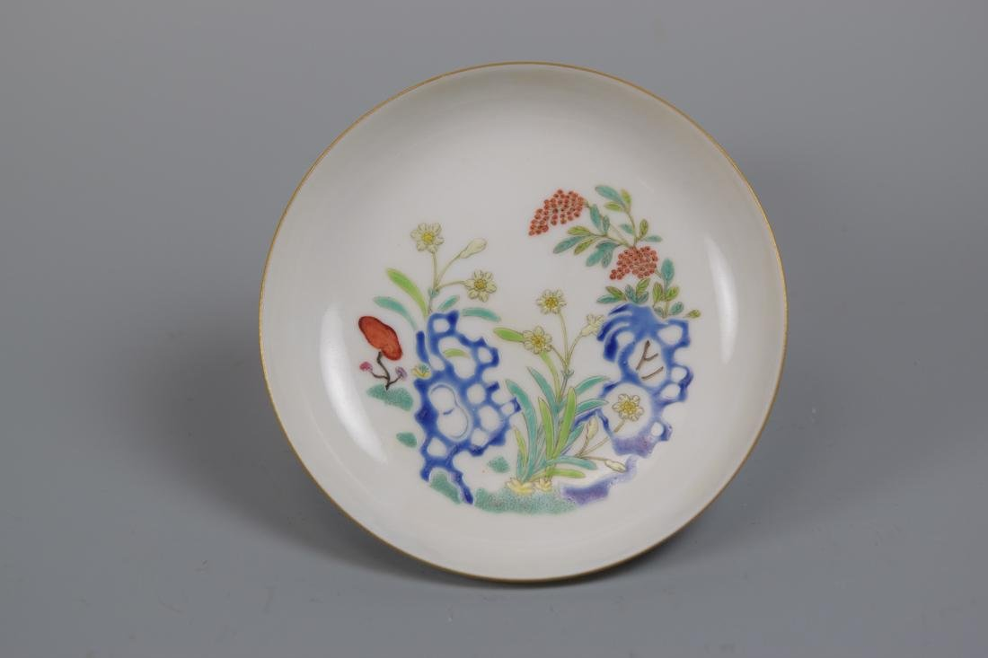 Chinese Porcelain Dish with Floral Rock Scene