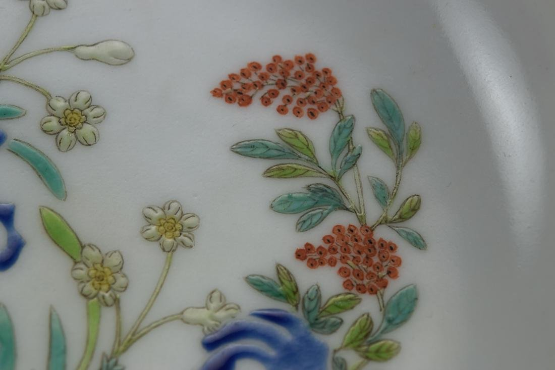 Chinese Porcelain Dish with Floral Rock Scene - 2