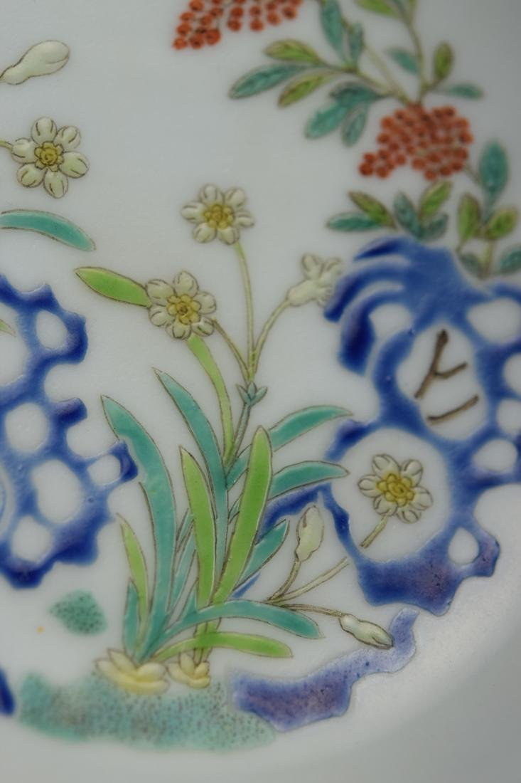 Chinese Porcelain Dish with Floral Rock Scene - 3