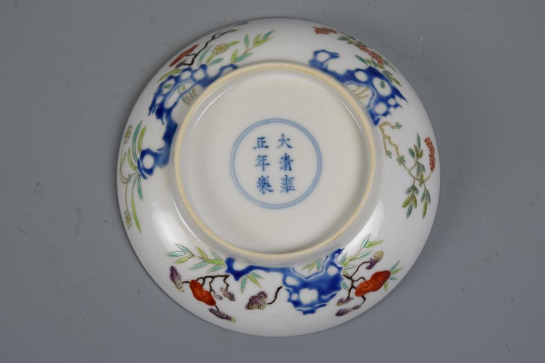 Chinese Porcelain Dish with Floral Rock Scene - 4