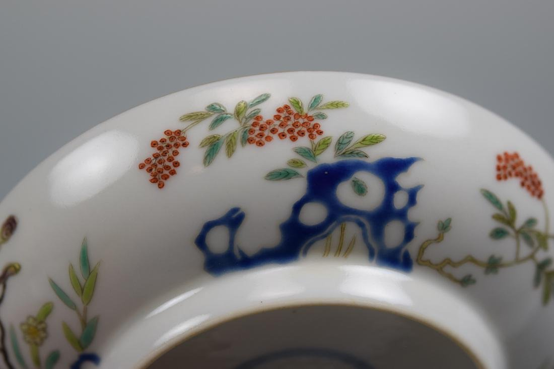 Chinese Porcelain Dish with Floral Rock Scene - 5