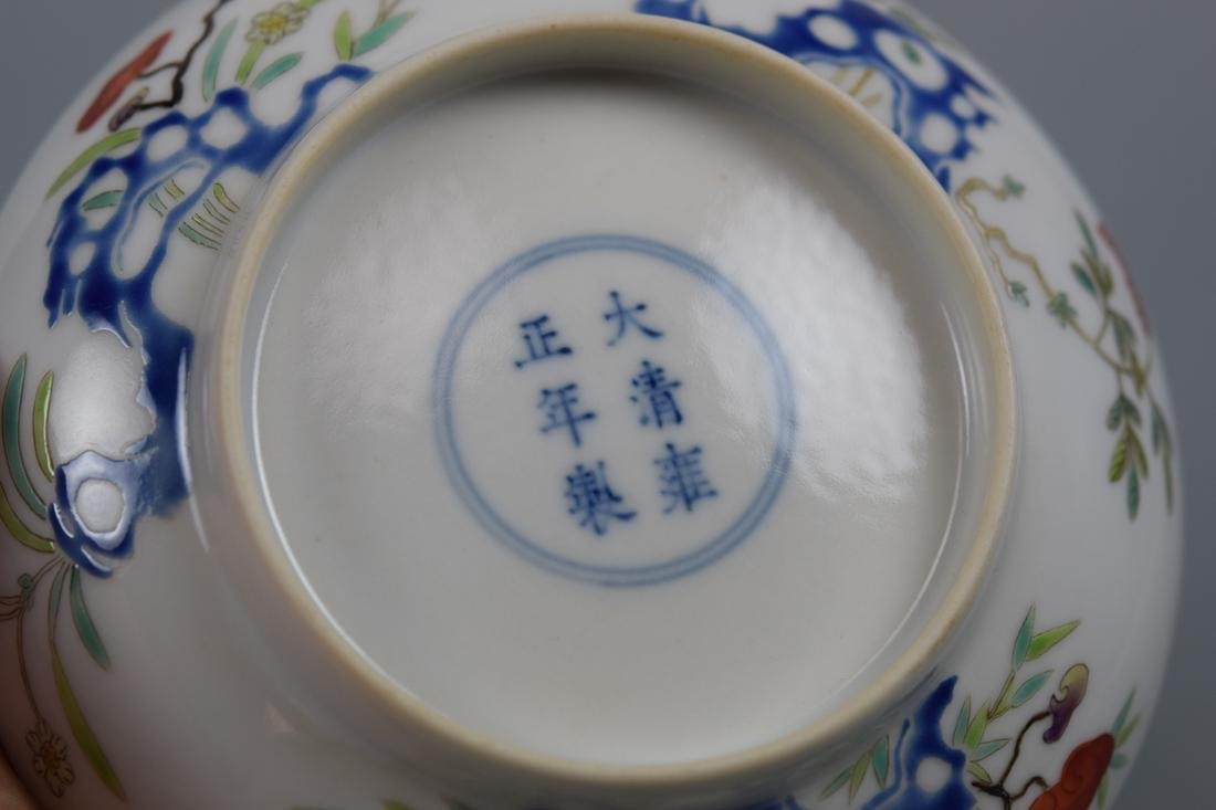 Chinese Porcelain Dish with Floral Rock Scene - 6