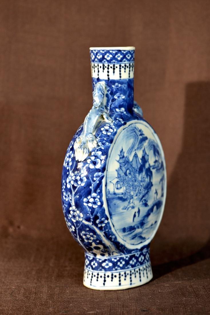 Chinese Blue White Porcelain Moonflask Vase - 3