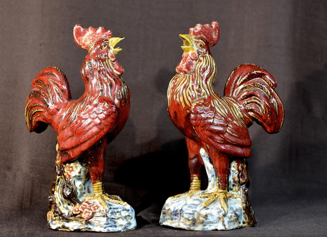 Pair Chinese Flambe Glazed Roosters