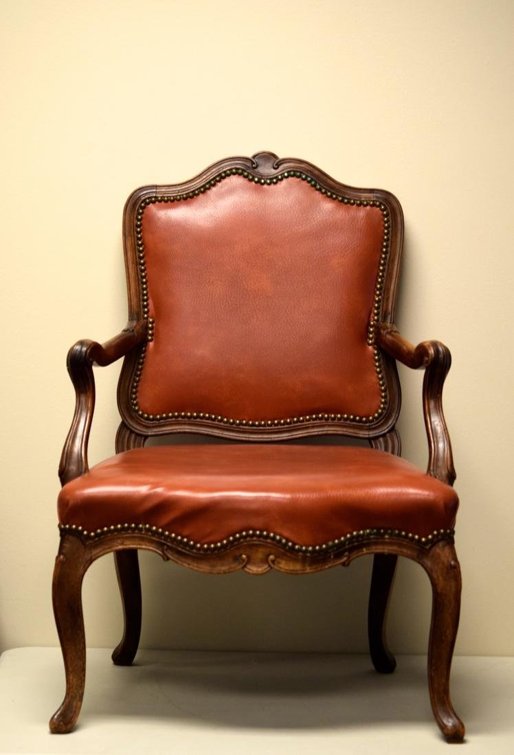 Vintage Walnut Chair with Leather