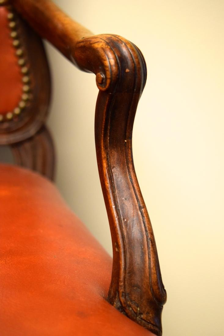 Vintage Walnut Chair with Leather - 3