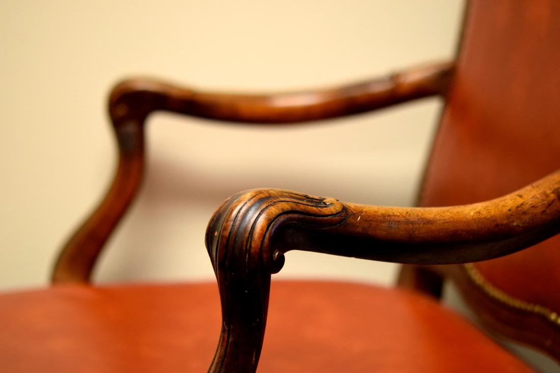 Vintage Walnut Chair with Leather - 5