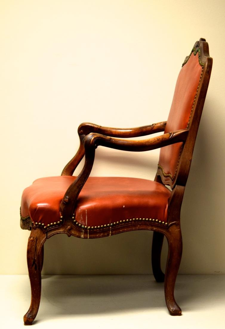 Vintage Walnut Chair with Leather - 6