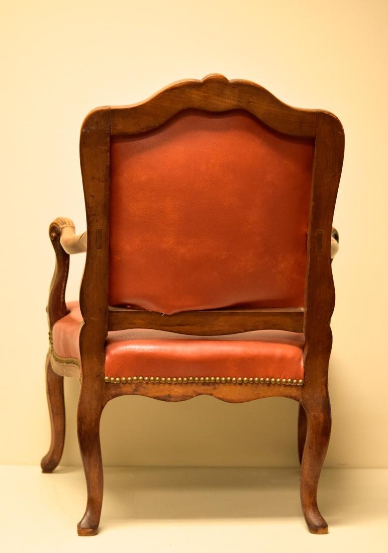 Vintage Walnut Chair with Leather - 8