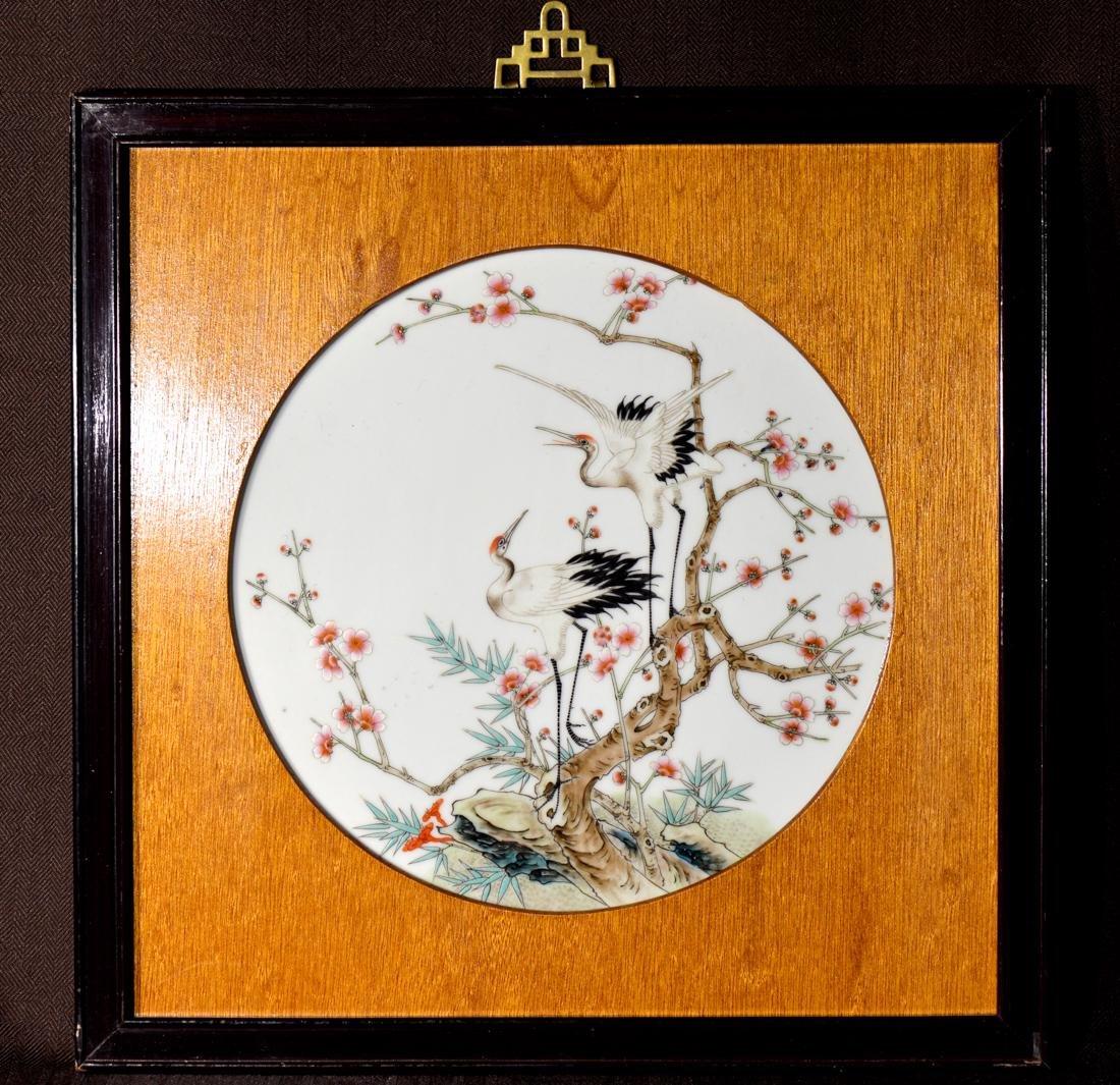 Chinese Porcelain Plaque - Crane