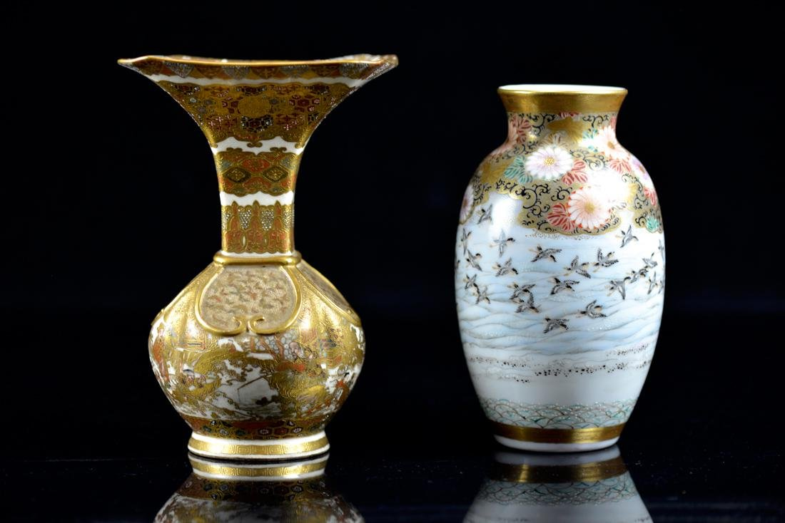 Two Japanese Satsuma and Kutani Vases