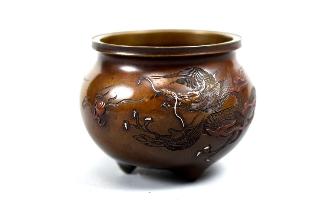 Japanese Mixed Metal Bronze Censer with Dragon