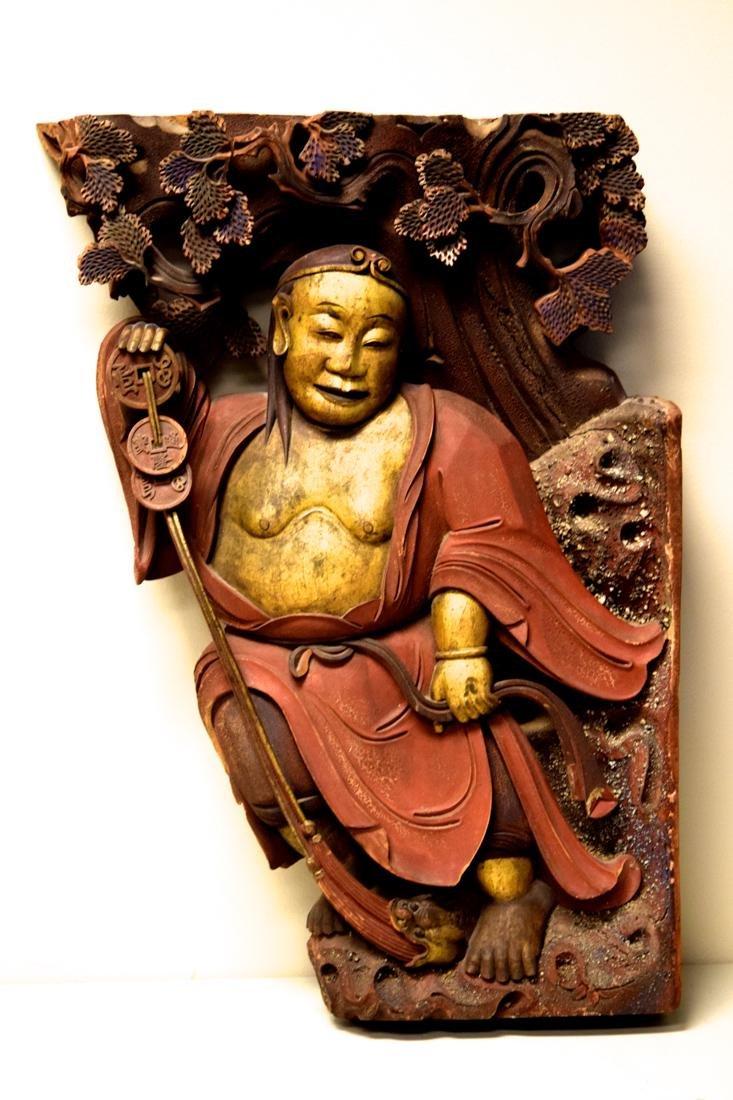 Chinese Wood Figurine with Louhai