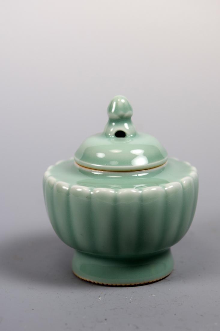 Japanese Celadon Porcelain Covered Censer - Makuzo