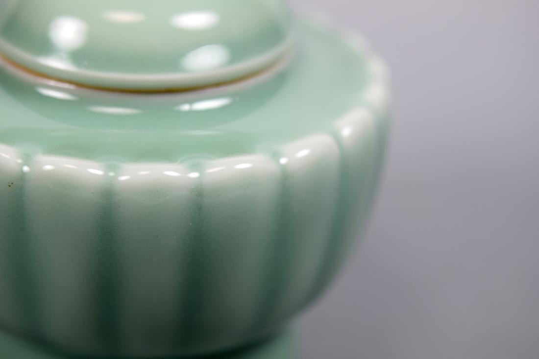 Japanese Celadon Porcelain Covered Censer - Makuzo - 2