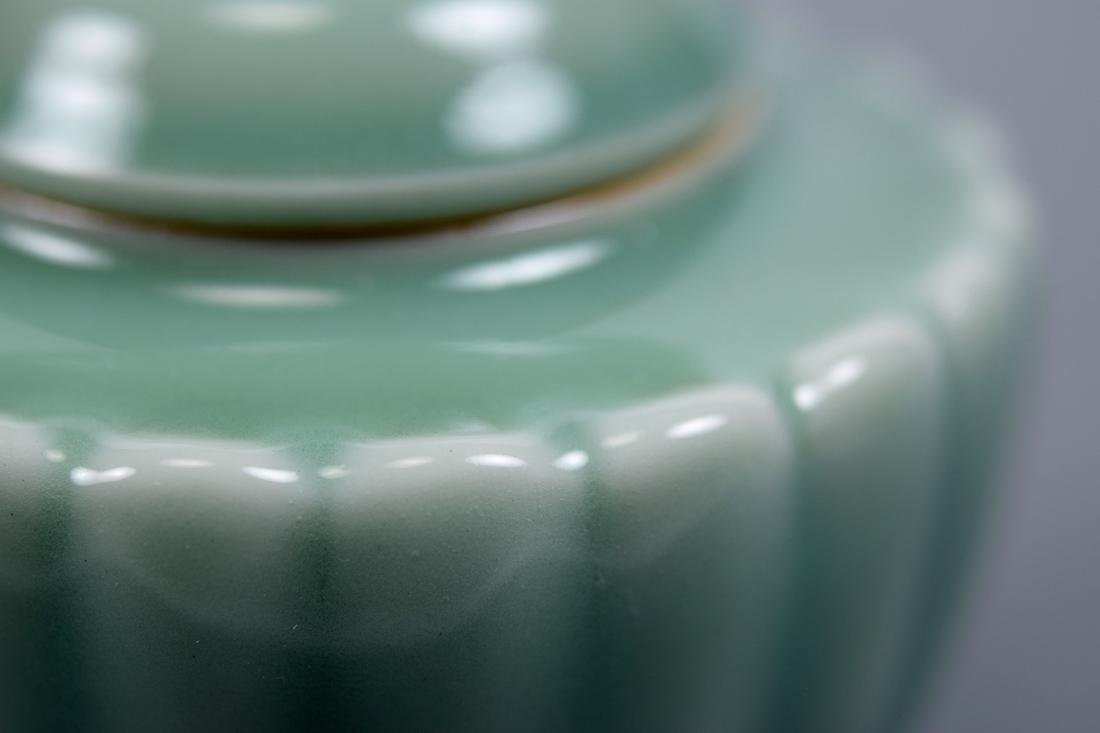 Japanese Celadon Porcelain Covered Censer - Makuzo - 8