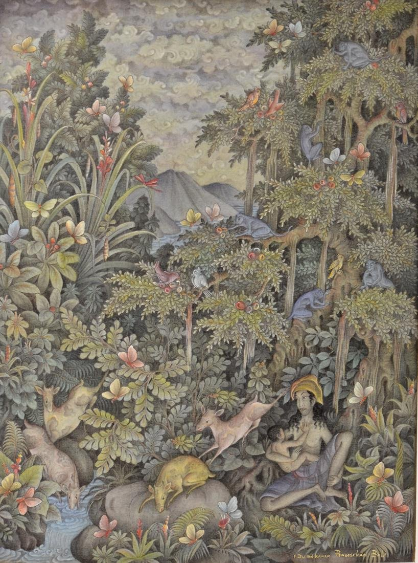 Southeast Asia Painting on Fabric - Deatiled Scene -