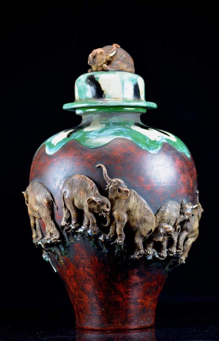 Large Japanese Sumida gawa Porcelain Vase with