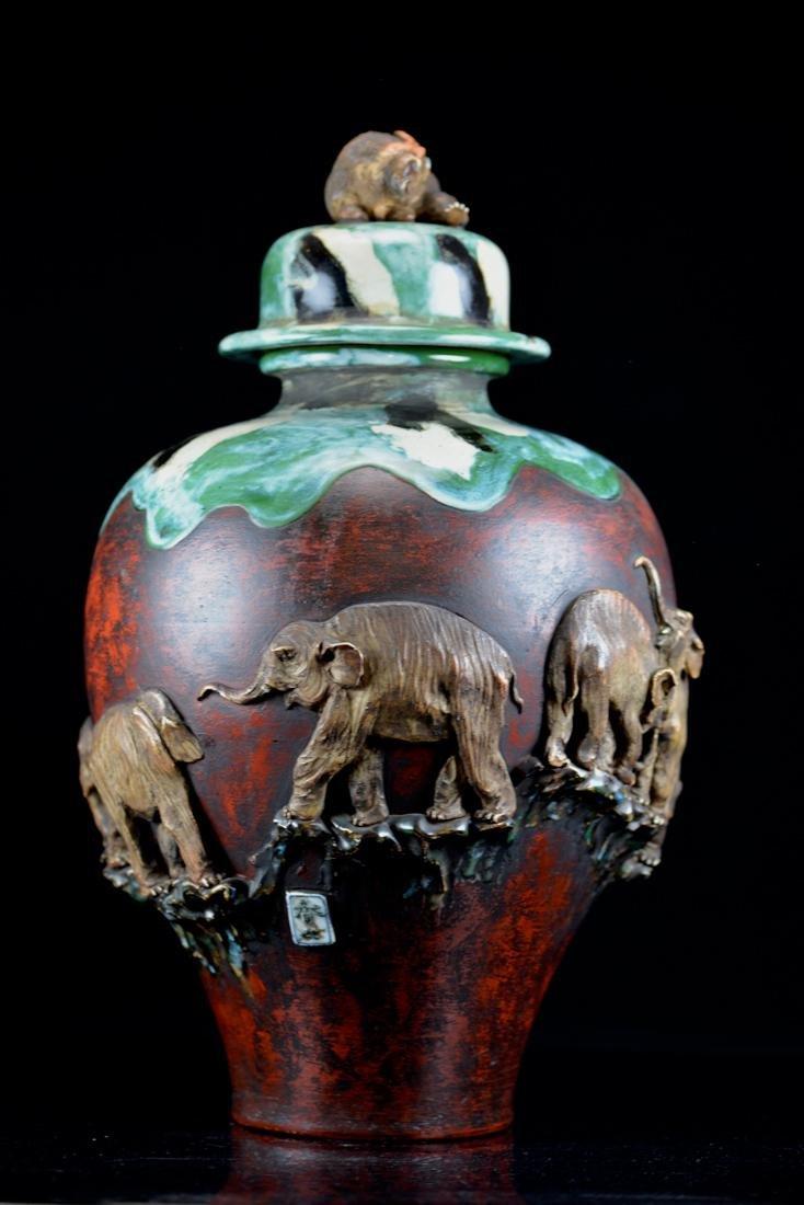 Large Japanese Sumida gawa Porcelain Vase with - 4