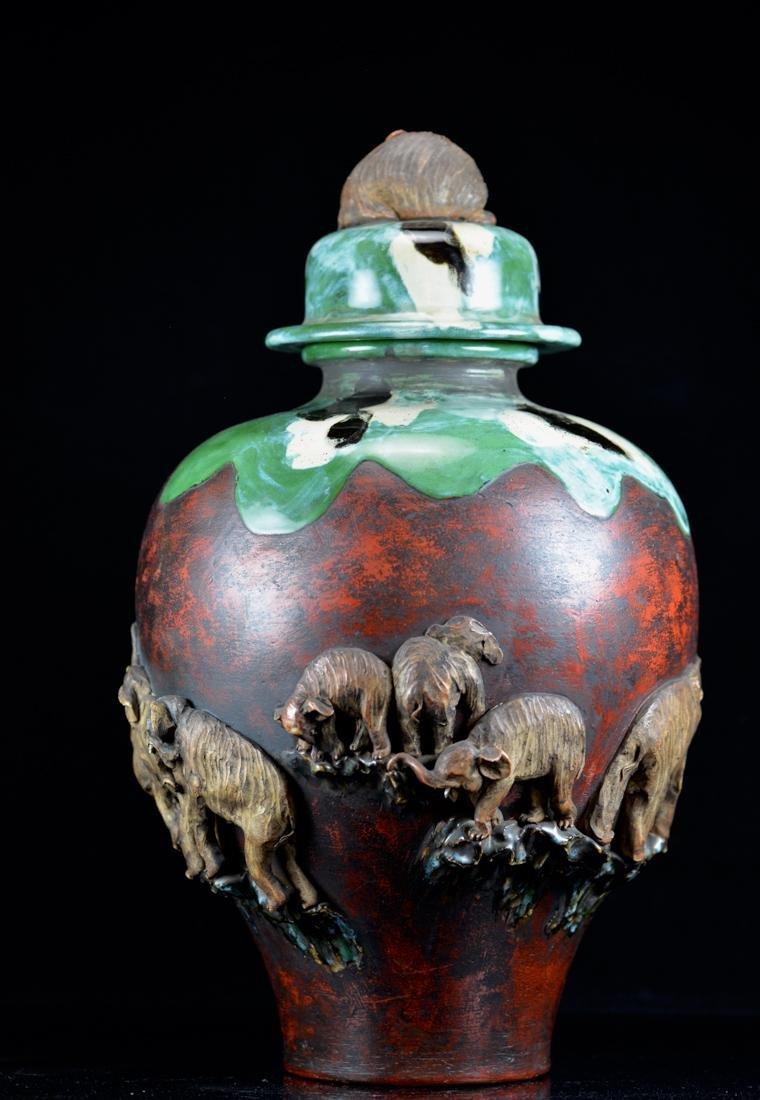 Large Japanese Sumida gawa Porcelain Vase with - 7