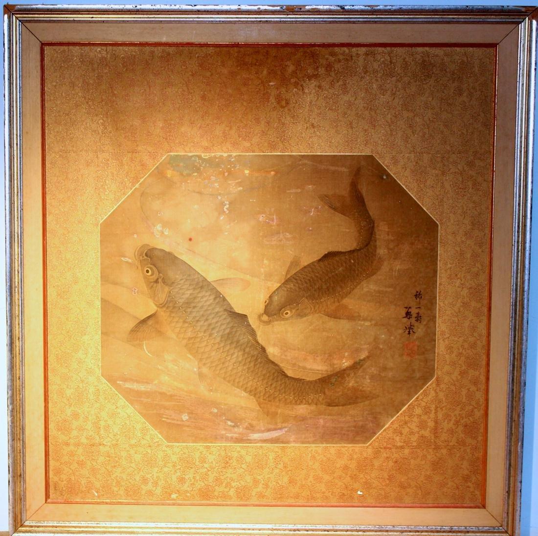 Chinese Painting of Carp - On Silk