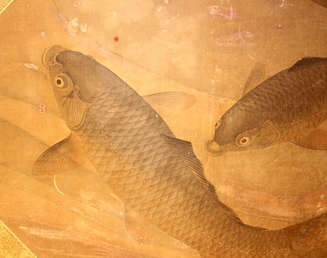 Chinese Painting of Carp - On Silk - 4