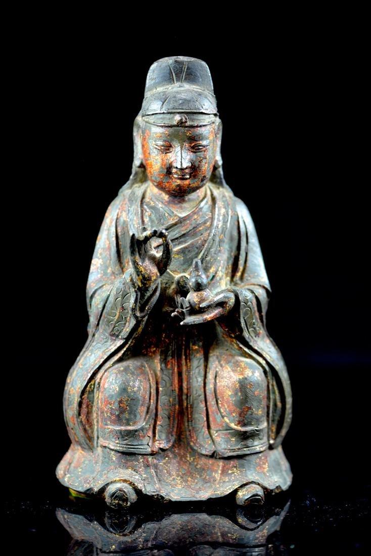 Chinese Ming Bronze Diety - Daoist