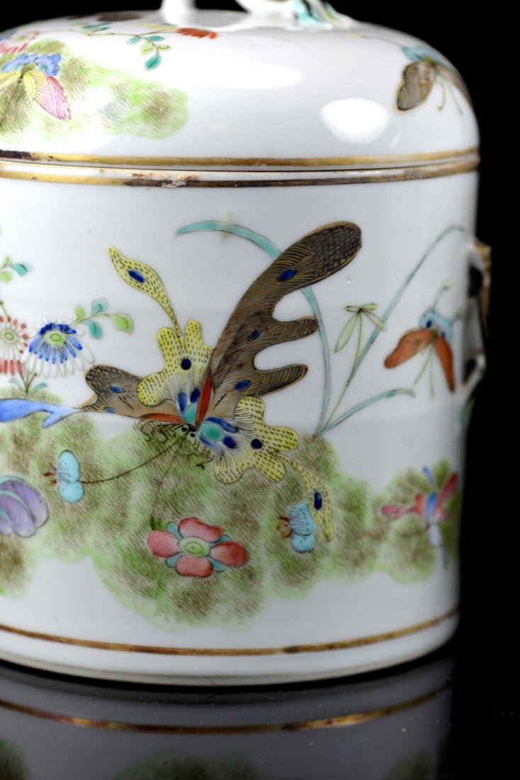 Pair Chinese Porcelain Covered Jar with Butterfly - 2