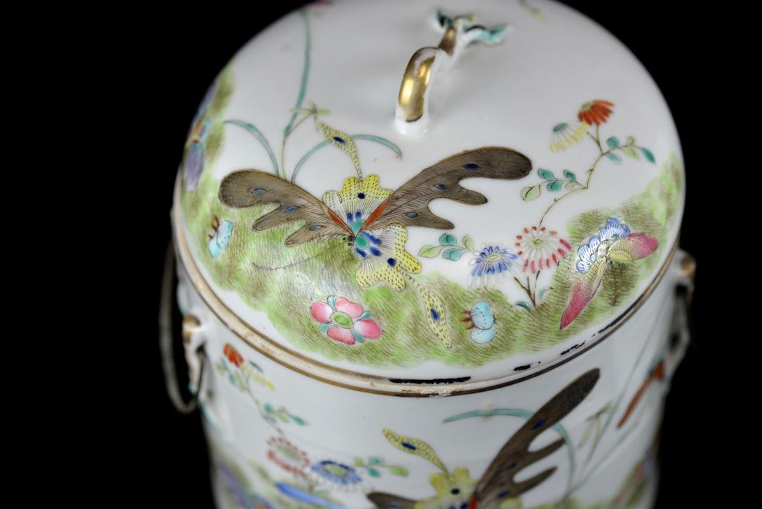 Pair Chinese Porcelain Covered Jar with Butterfly - 3