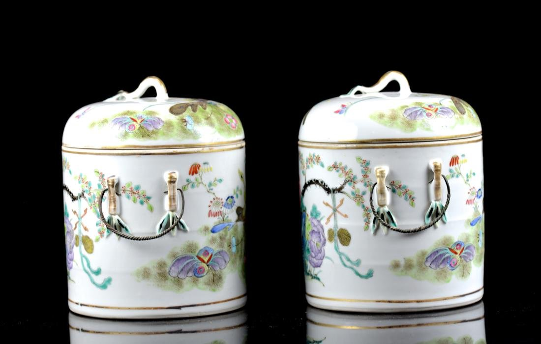 Pair Chinese Porcelain Covered Jar with Butterfly - 4