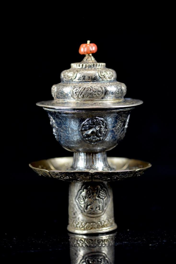 Chinese Silver Cup and Holder Group