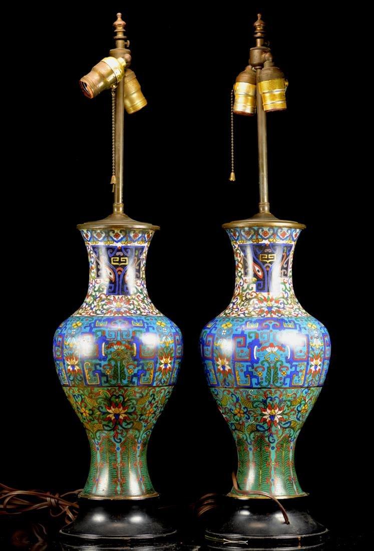 Pair Chinese Cloisonne Vase Lamp