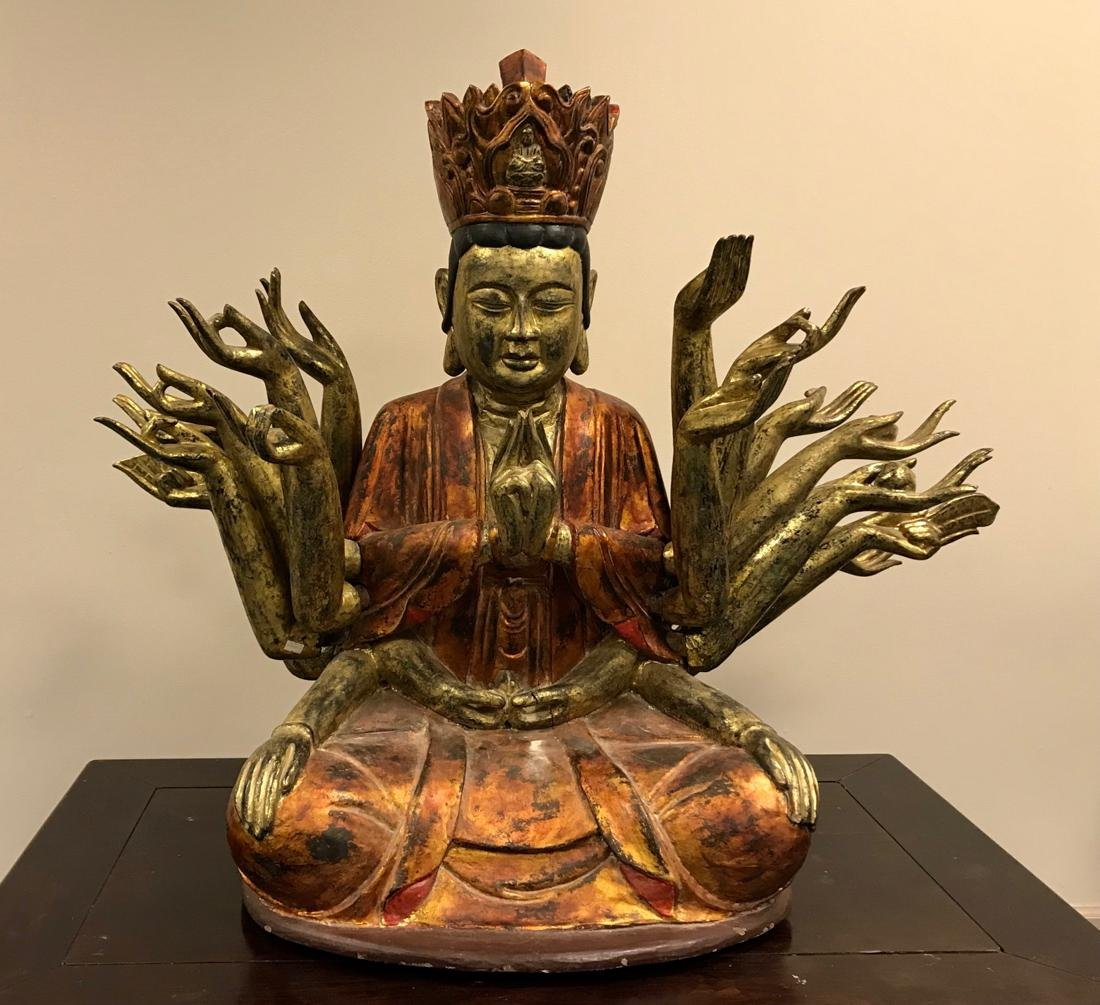 Large Chinese Lacquer on Wood Buddha with Many Arms