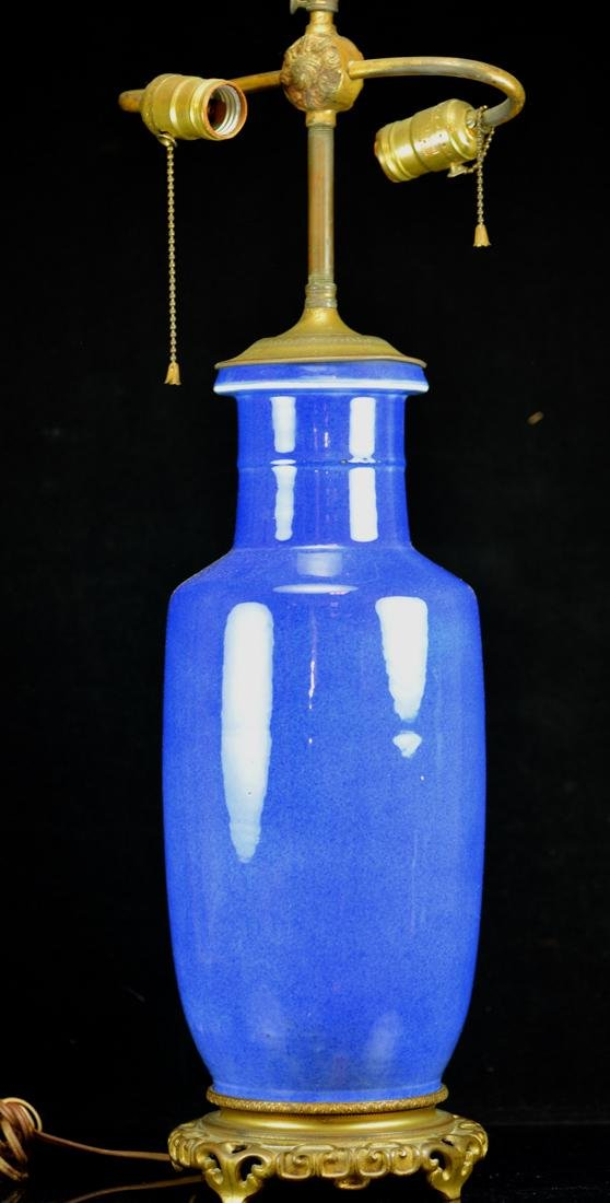 Chinese Powder Blue Rouleat Vase Lamp