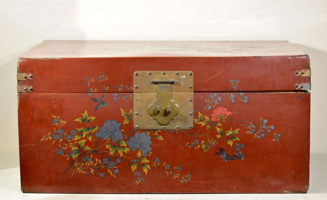 Chinese Fuzhou Lacquer Trunk for Painitng Storage