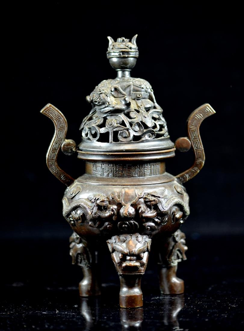 Chinese Bronze Censer with Dragon - Qianlung Mark