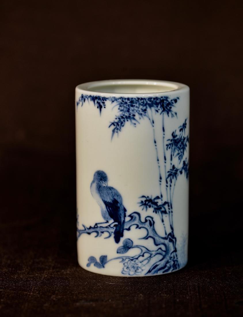 Chinese Blue White Porcelain Brush Pot with Bird