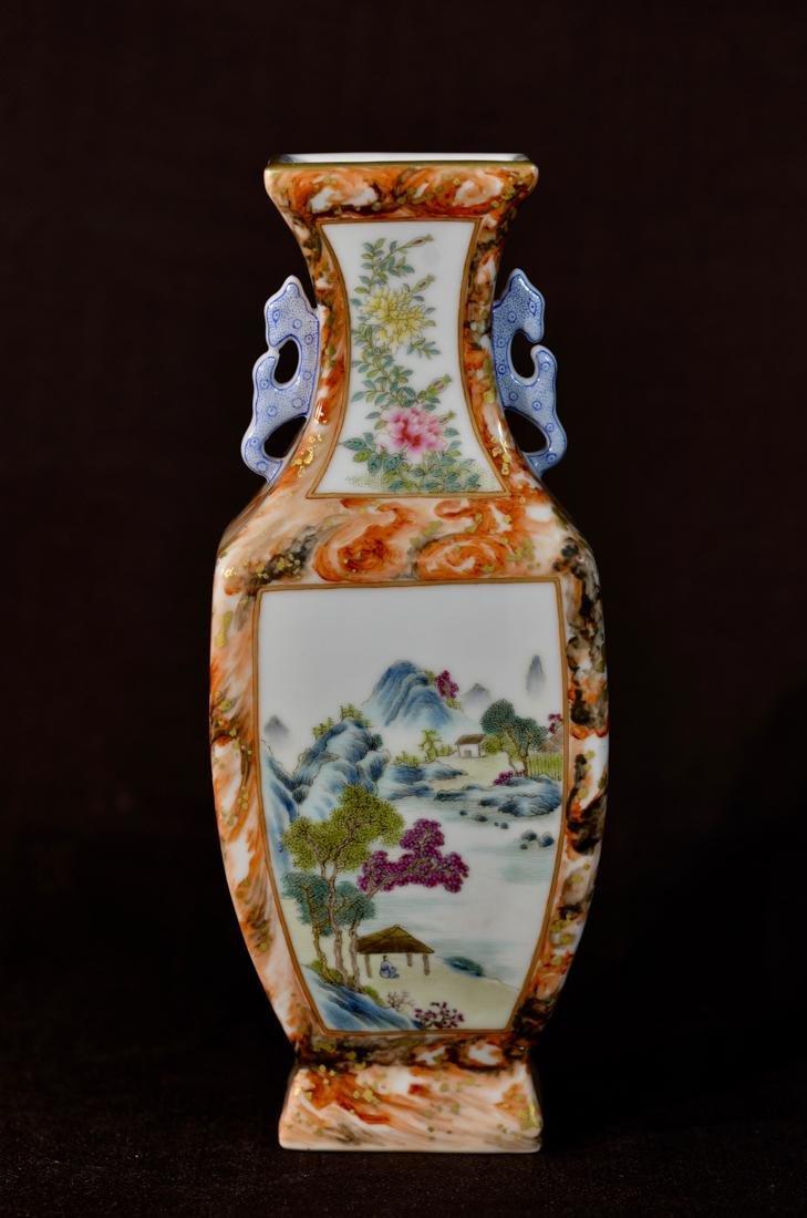 Chinese Square Porcelain Vase with Landscape Scene