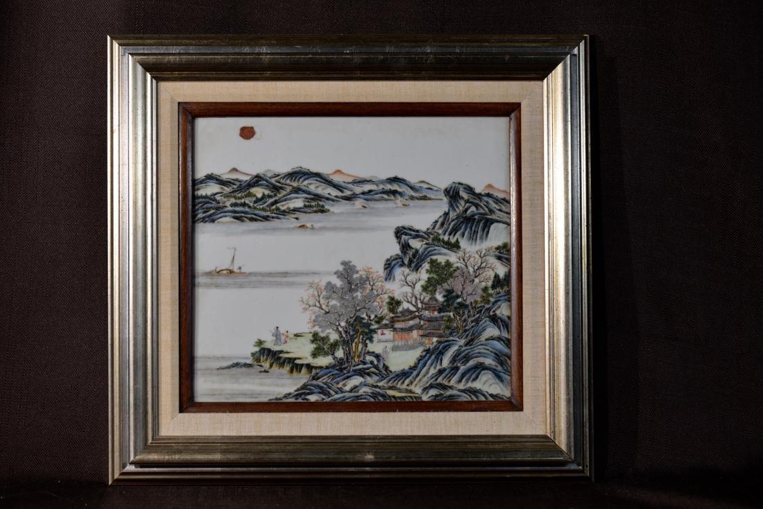 Chinese Porcelain Palque of Landscape Scene
