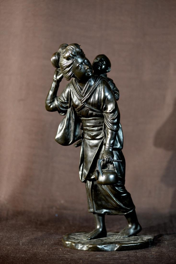 Japanese Bronze Woman and Child - Meiji period