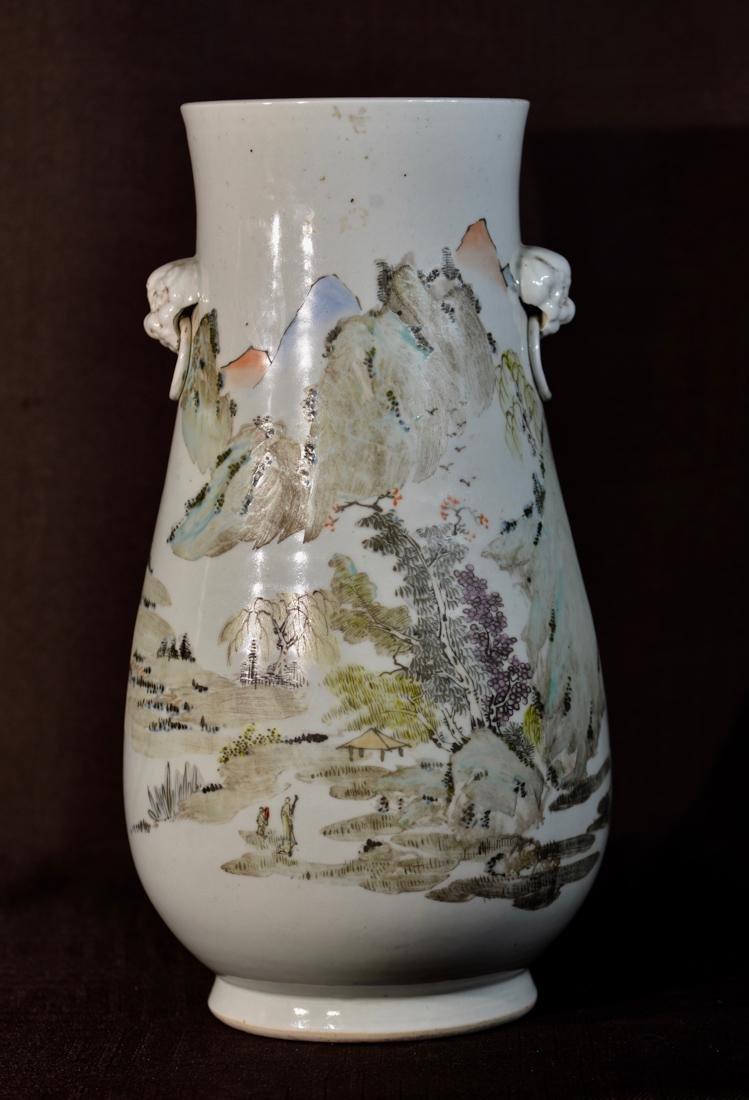 Chinese Porcelain Vase with Foolion Mask - Landscape