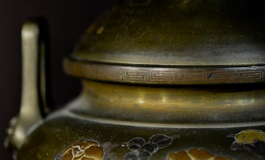Japanese Mixed Metal Bronze Censer with Foolion Finial - 3